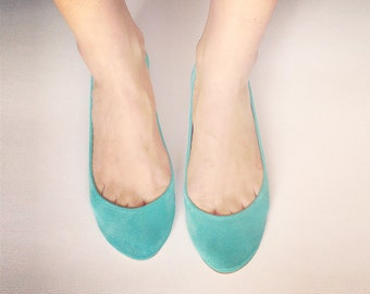 Robin Egg Blue Aqua Soft Leather Handmade Ballet Flats