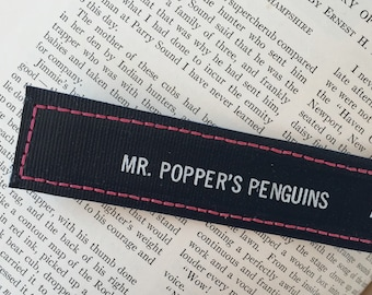 Bookspine bookmark /// Mr. Popper's Penquins  /// teacher gift