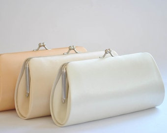 Set of 3  Satin Bridesmaid clutches / Wedding clutches - Custom Color