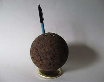 Mod vintage cork sphere pen holder desk caddy office decor