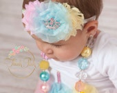 Bubblegum Necklace and Baby Headband SET,Baby Headbands, Little girls Chunky Necklace, Birthday Headband,Headband and Chunky necklace set.