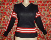 Reserved 60s cheerleader black white red striped beatnik mod rockabilly V collar neck Orlon sweater by Kandel  Knitting Mills - S M L