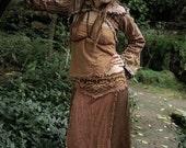 Brown Linen long Skirt