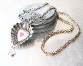 Here's My Heart Tin Necklace-Assemblage Jewelry-Altered Jewelry- Vintage Found Objects Candy Mold