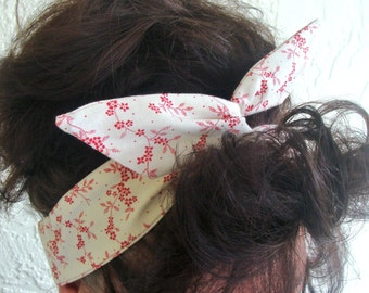 Flower Dolly Bow Wire Headband Creme and Red Floral Rockabilly Pin Up Hair Accessory for Teens Women Girls