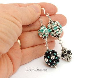 Sale Earrings reduced 40% - silver turquoise black beaded beads