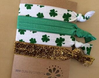 St  Patrick's Day - elastic hair tie set of 4 - shamrocks, green, gold glitter