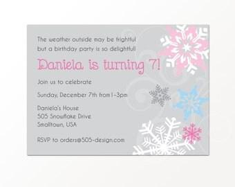 Snowflake Invitation - Winter Wonderland Party Invitation by 505 Design, Inc