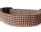 Plaid Dog Collar / Brown Plaid Dog Collar / Tan Plaid Dog Collar / Brown Gingham Dog Collar / Checked Dog Collar / Boy Dog Collar