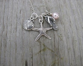 Ocean/Beach Inspired Charm Necklace -Starfish, Flip Flop, and Seashell, with an Accent bead of your choice