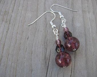 Amethyst Purple Glass Beaded Earrings