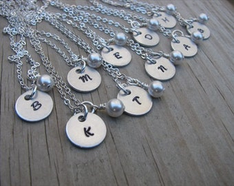 10 Personalized Bridesmaids Necklaces- (10) Necklaces- Hand-Stamped Initials with a pearl on each- set of 10