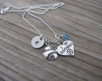 """Softball Necklace- Charm Necklace with Softball Charm, """"I *heart* SOFTBALL"""" charm, Initial Charm of choice, and an accent bead of choice"""