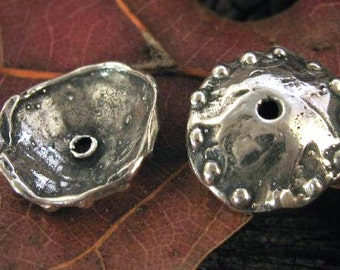 2 Awesome Large Handcrafted Artisan Bead Caps in Sterling Silver Dotted  12.5mm AC144