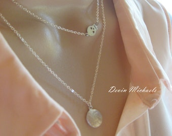 Layered Necklaces with Hammerd Disk and Skull Necklaces, Silver Layering Necklace, Silver Multi Strand Necklace