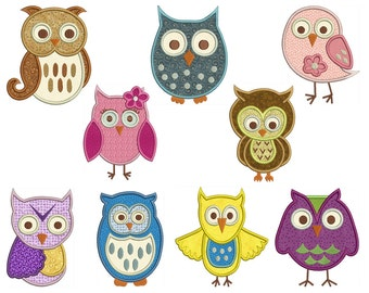 OWLS Machine Applique Embroidery - Instant Digital Download