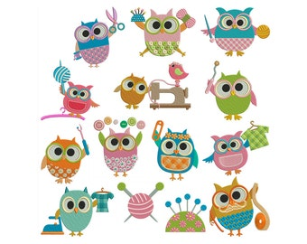 SEWING OWLS - Machine Filled Embroidery - Instant Digital Download