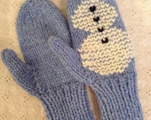 Hand Knit Snowman Mittens, Child Size, hand Embroidered Snowman,Xmas Gift