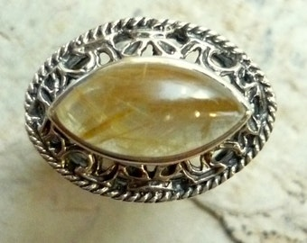 Sterling Silver Agate Ring, yellow agate ring, raised filigree and stone ring, statement ring, marquise stone ring, silver filigree ring