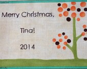 Quilt Label - Polka Dot Tree, Custom Made & Hand Embroidered
