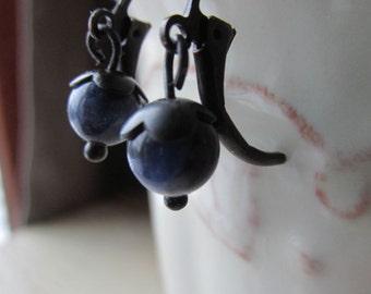 Petite Sodalite Earrings - Natural Stone - Hand Blackened Brass - Small Blue Earrings - Minimalist