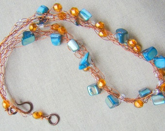 Teal Abalone Shell And Amber Glass Wire Crochet Necklace // Blue and Copper Beaded Necklace // Crochet Jewelry // Boho Jewelry - CR0022