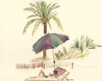 Palm tree watercolor- Palm tree painting- art print
