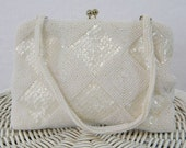 Vintage White Beaded Purse Made In Germany