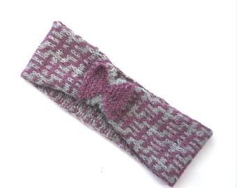 Purple coloured  headband , wool headwear  , womens winter accessories , gift ideas , hand knit ear warmer ,  clearance sale , half price