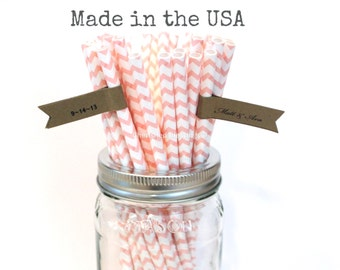Pink Paper Straws, 25 Blush Pink Chevron Striped Vintage Paper Straws Wedding Birthday Bridal Baby Shower Kids Party Supplies MADE in USA