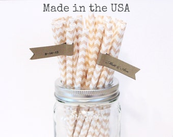Ivory Paper Straws, 50 Beige Paper Straws Cream Chevron Straws Made in USA, Rustic Wedding Vintage Baby Shower, Party Supplies Table Setting
