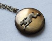 Rabbit Locket ... Vintage Brass Hare Woodland