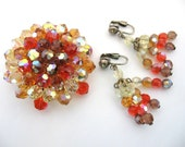 Vintage Crystal Bead Jewelry Set - Beaded Brooch and Earrings w/ Ab Tangerine and Topaz