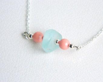 Long Layering Sea Glass Necklace - Aqua Blue Beach Glass & Coral Pink Swarovski Pearls