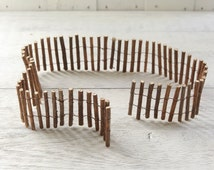 Fairy Garden Fence - Rustic Wood and Wire Stick Border, 3 Feet
