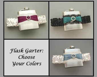 FLASK GARTER - Wedding Garter with Flask - Choose Your Colors - Satin & Lace with Round Cystal Buckle - Custom Garter Flask