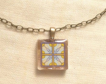 Necklace Lavender and Mustard Yellow Gold Tile, Spanish, Mexican and Mediterranean Tile Inspired