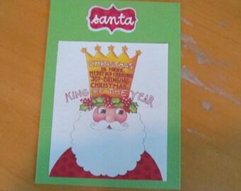Christmas Card -- Mary Engelbreit upcycled Santa King of the Year