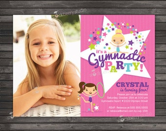 Gymnastics Birthday Invitation Printable - Gymnastics Birthday - Gymnastics Invitation - Gymnastic Birthday Invites