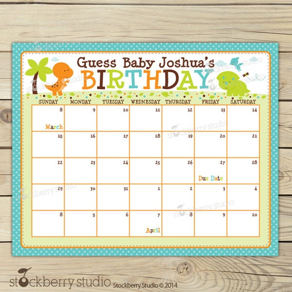 Dinosaur Baby Shower Guess the Due Date Calendar Printable - Birthday ...