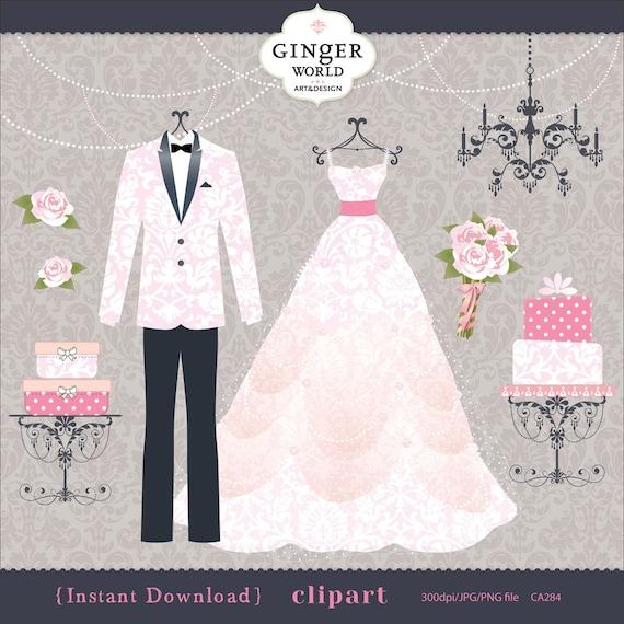 Wedding dress and tux clip art