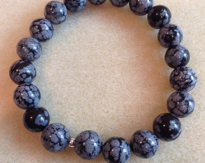 Snowflake Obsidian 10mm Round Stretch Bead Bracelet with Sterling Silver Accent