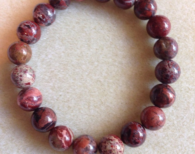 Poppy Jasper 10mm Round Stretch Bead Bracelet