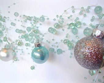 Coastal Christmas Garland, Beach Christmas Garland -- Sea Foam Green Pearls with Miniature Jewel Tone Glass Ball Ornaments