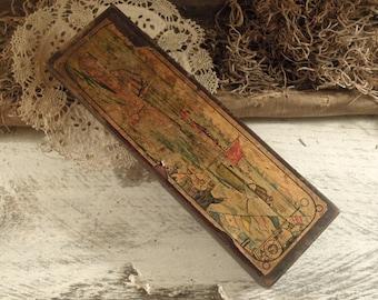 Vintage Rustic Wood Pencil Box / Display Box / School Pencil Box / Antique Pencil Box