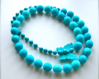 Long necklace with felted turquoise colored beads and butterfly -  Necklace with felted  turquoise colored beads- Handmade- OOAK