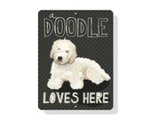 """A Doodle Loves Here Sign 9"""" x 12"""" Cream Dog. SKU: SN912604"""