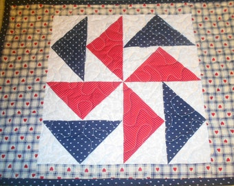 Patriotic Country Dutchman's Puzzle  Quilted Patchwork Placemat or Table Topper