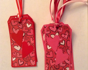 10% Discount/Gift Tags, Valentine's Day,  Set of 6, Holiday Tags, Hearts, Red, Hang Tags