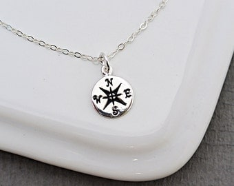 Silver or Gold Compass necklace,  Travelers Necklace, Graduation Necklace, Best Friends Necklace, Friendship Necklace, Tiny Compass charm